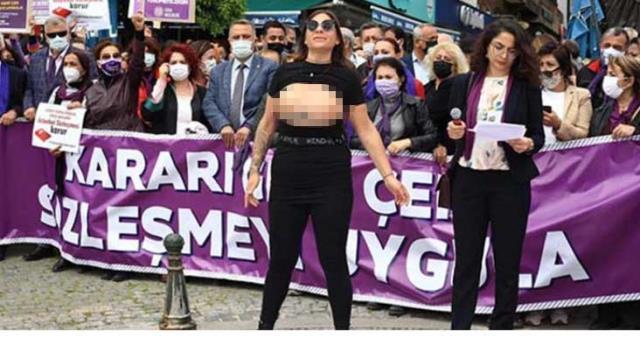 Antalya'da üstsüz İstanbul Sözleşmesi protestosu