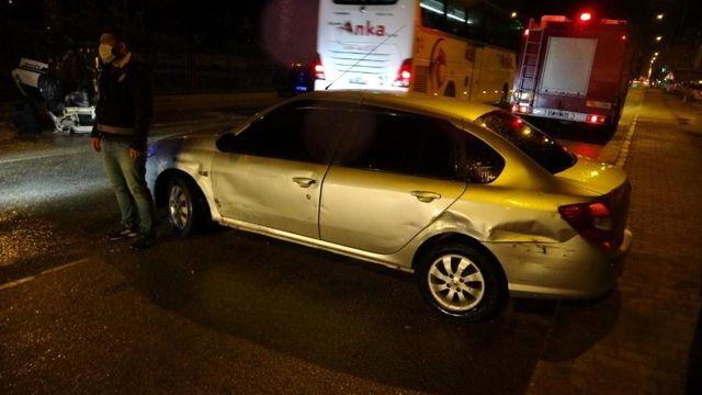 İki otomobile çarpan araç takla attı: 1 yaralı