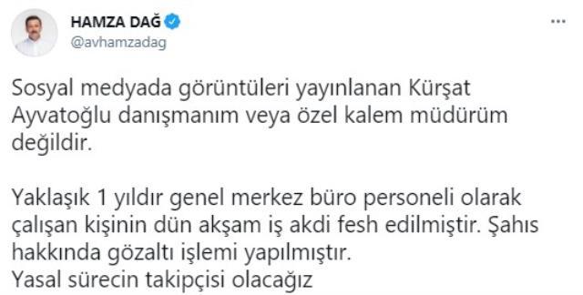 Hamza Dağ'dan Kürşat Ayvatoğlu açıklaması: Danışmanım değil, büroda personel olarak çalışıyordu
