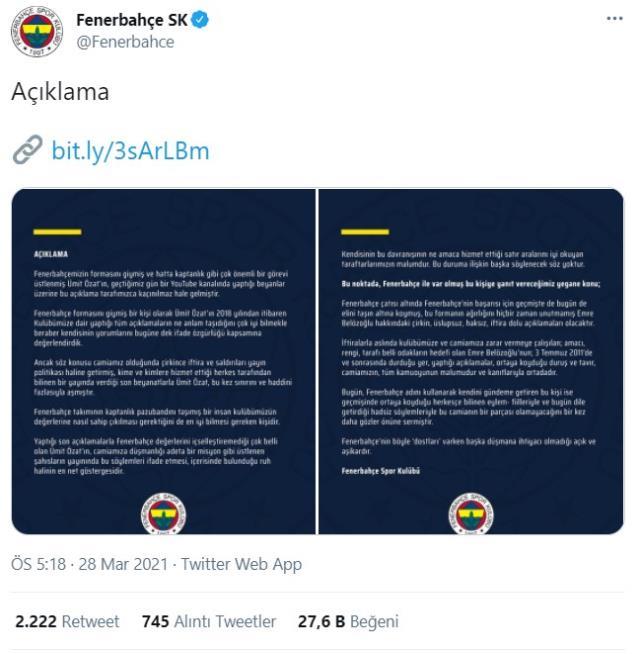 Fenerbahçe, Ümit Özat'ın Emre Belözoğlu'na ilişkin iddialarına sert yanıt verdi