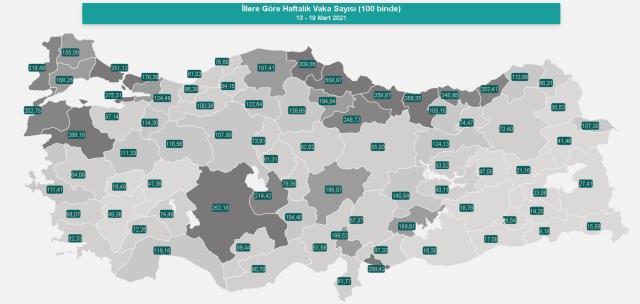 İl il koronavirüs vaka sayıları kaçtır? 20-26 Mart İl il koronavirüs risk haritası ve vaka sayıları açıklandı mı?