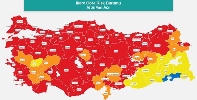 İl il risk haritası! 20-26 Mart il il koronavirüs risk haritası! Kırmızı olan iller hangileri oldu?