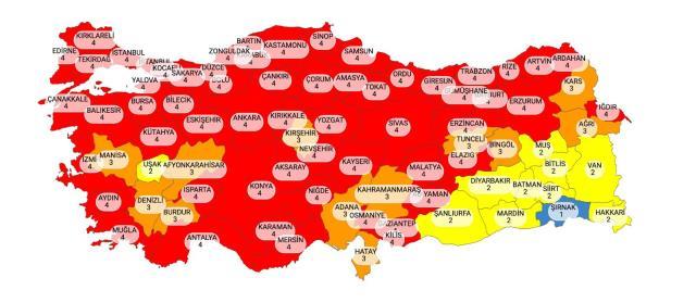 Son Dakika: Yeni koronavirüs risk haritası yayınlandı, 58 il kırmızı kategoriye geçti