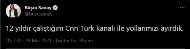 Spiker Büşra Sanay, CNN Türk ile yollarını ayırdı