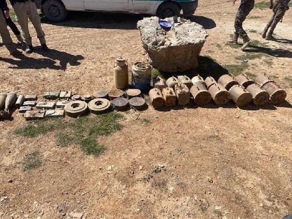 Son dakika haberleri | Tel Abyad'da PKK/YPG'ye ait 693 kilo patlayıcı ele geçirildi