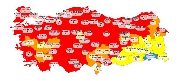 Türkiye risk haritası renk durumu nedir? İl il koronavirüs risk haritası! Hangi iller kırmızı oldu?