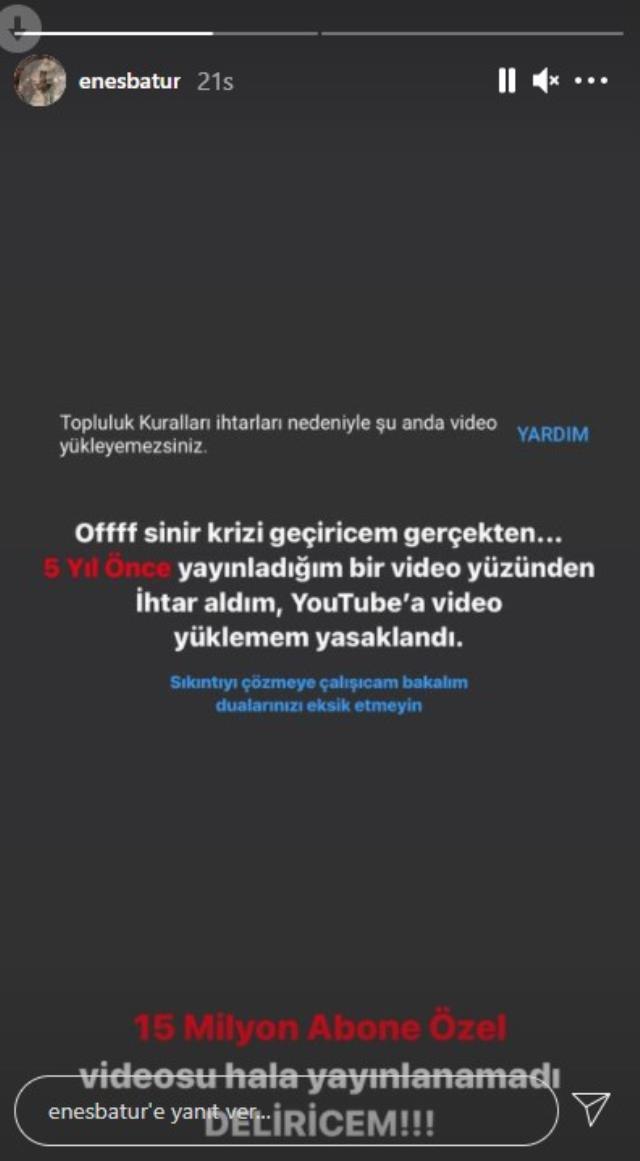 15 milyon abonesi bulunan Enes Batur'un YouTube'a video yüklemesi yasaklandı