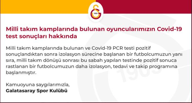 2 coronavirus cases in Galatasaray to go to difficult Hatay displacement in the Super League