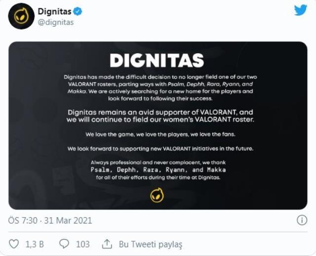 Dignitas, Valorant kadrosu ile yollarını ayırdığını açıkladı!