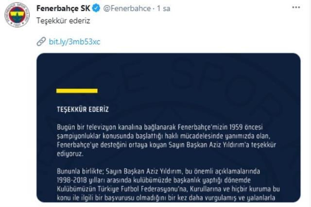 Fenerbahçe'den Aziz Yıldırım'a teşekkür mesajı