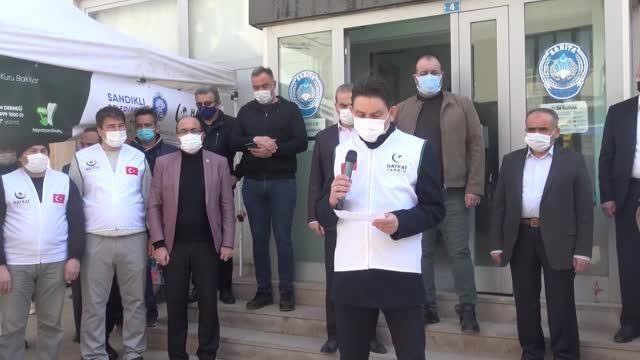 AFYONKARAHİSAR - Suriye'deki yetimler için toplanan temel ihtiyaç malzemeleri tırlarla gönderildi