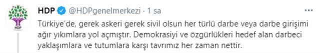Emekli amirallerin bildirisiyle ilgili HDP'den yapılan açıklama: Darbeci yaklaşımlara tavrımız nettir