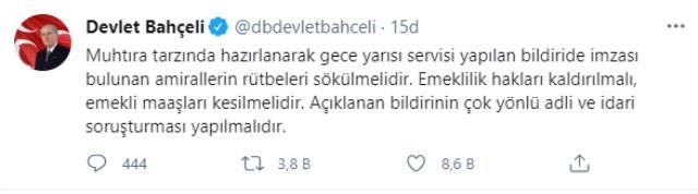 Son Dakika! MHP Genel Başkanı Devlet Bahçeli: Bildiride imzası bulunan 103 emekli amiralin rütbeleri sökülmelidir