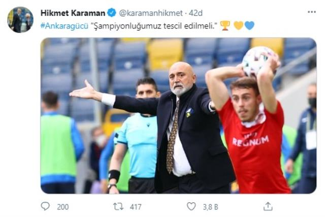 Ankaragücü Teknik Direktörü Hikmet Karaman: Şampiyonluğumuz tescil edilmeli