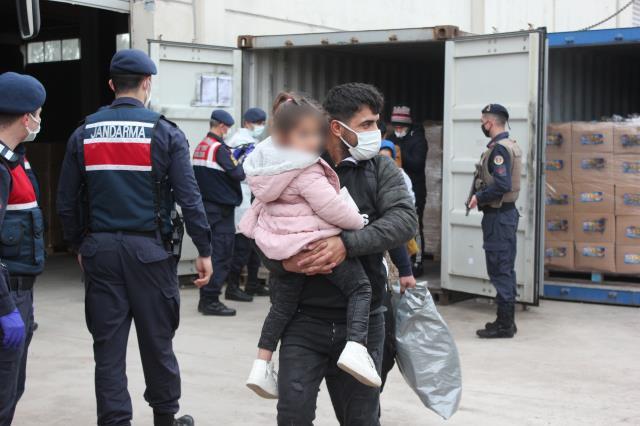 Bisküvi taşıyan konteynerlerin içinde aralarında çocukların da bulunduğu çok sayıda göçmen yakalandı