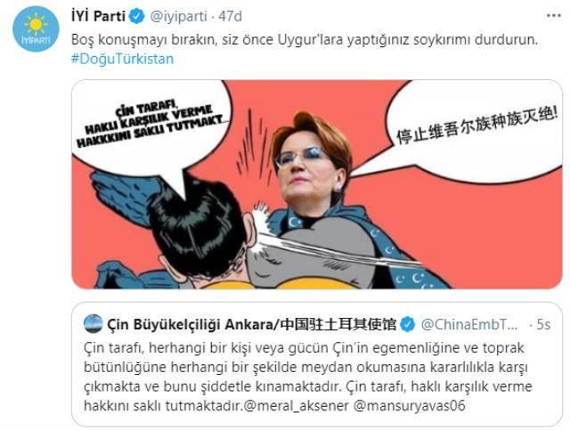 İYİ Parti'den Çin'in Ankara Büyükelçiliği'ne tokat gibi yanıt