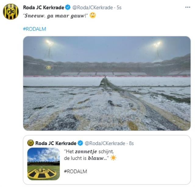 Unbelievable event in April!  Roda-Almere City match was vacationed due to heavy snowfall