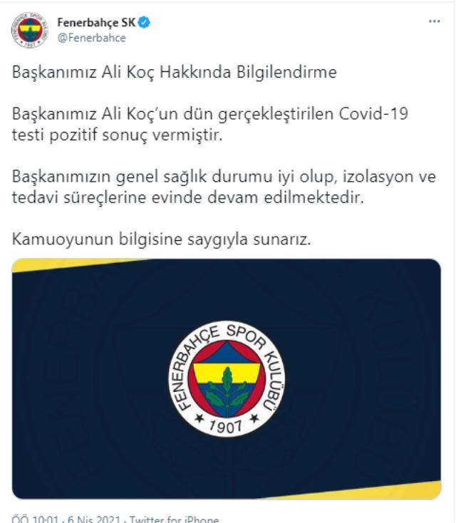 Son Dakika: Fenerbahçe Başkanı Ali Koç'un koronavirüs testi pozitif çıktı