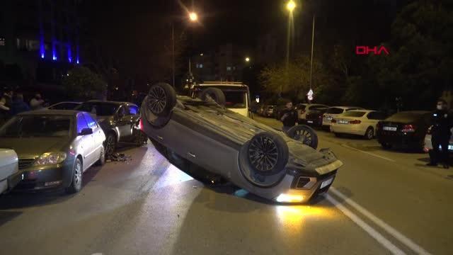 Otomobil 4 metre yüksekten şantiye alanına düştü 1 yaralı