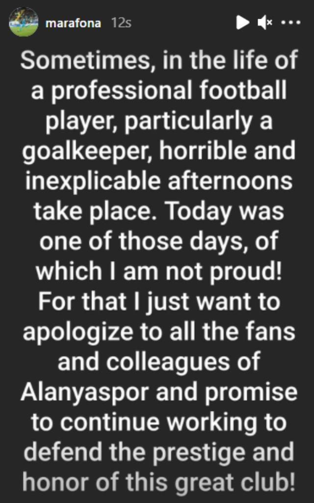 Beşiktaş maçında yediği gollerle tepki çeken Marafona, kötü performansı için özür diledi
