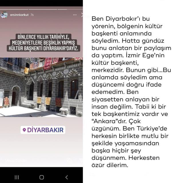Diyarbakır için kullandığı ifadeler tepki çeken Ersin Korkut'tan açıklama: Kültür başkenti anlamında kullandım