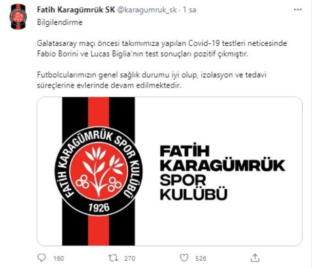 2 footballers caught coronavirus in Karagümrük to face Galatasaray