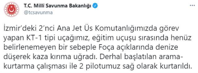 Son Dakika! İzmir Foça'da askeri uçak düştü, 2 pilot sağ olarak kurtarıldı