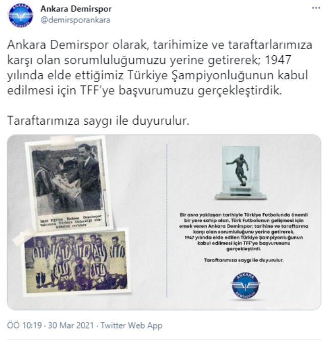 Fenerbahçe gibi Ankara Demir de TFF'ye şampiyonluk belgelerini gönderdi, Kararın çıkması an meselesi! İşte o belge
