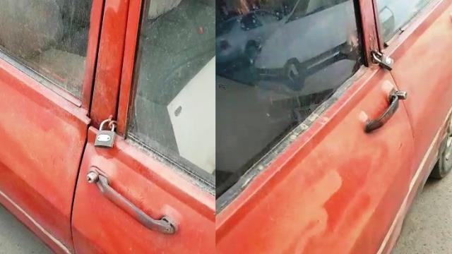 'Ultra güvenlikli' eski model otomobil görenleri hayrete düşürdü