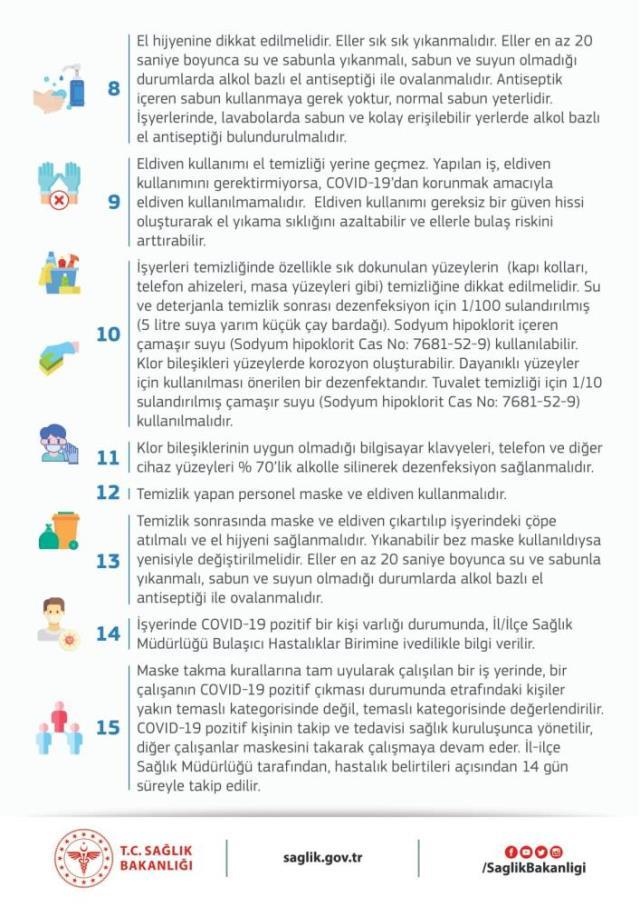 Sağlık Bakanlığı, iş yerlerinde alınması gereken tedbirleri 15 maddede sıraladı