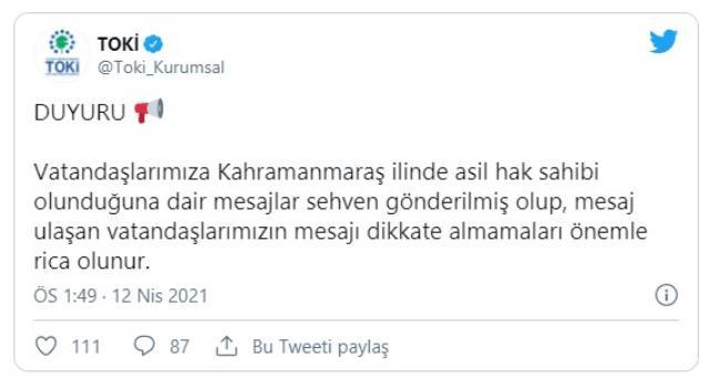 Kahramanmaraş'ta bazı vatandaşlar TOKİ'nin yanlış mesajıyla birkaç dakikalığına ev sahibi oldu