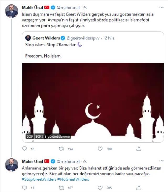 Irkçı Geert Wilders'in Ramazan'ı ve İslamı hedef aldığı mesajına Türkiye'den tepki yağıyor