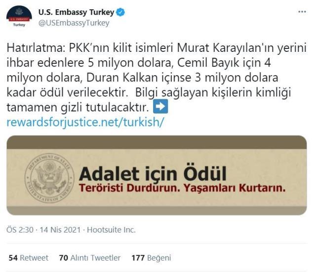 ABD'nin Ankara Büyükelçiliği, terör örgütü PKK'nın kilit isimlerinin başına ödül koydu