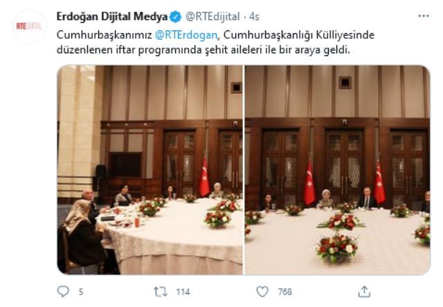 Cumhurbaşkanı Erdoğan, iftar programında şehit aileleri ile bir araya geldi