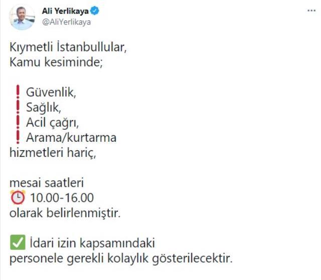 Son Dakika: İstanbul'da kamu mesai saatleri 10.00-16.00 olarak belirlendi