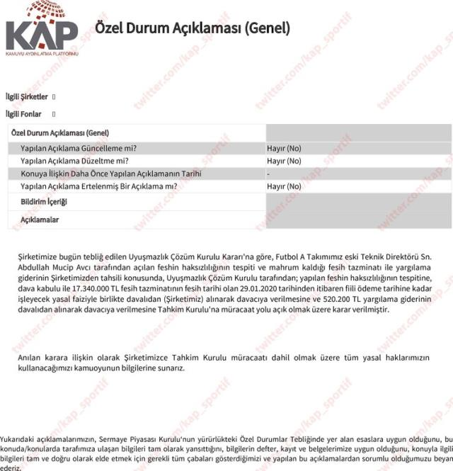 KAP statement came from Beşiktaş!  Historical compensation will be paid to Abdullah Avcı