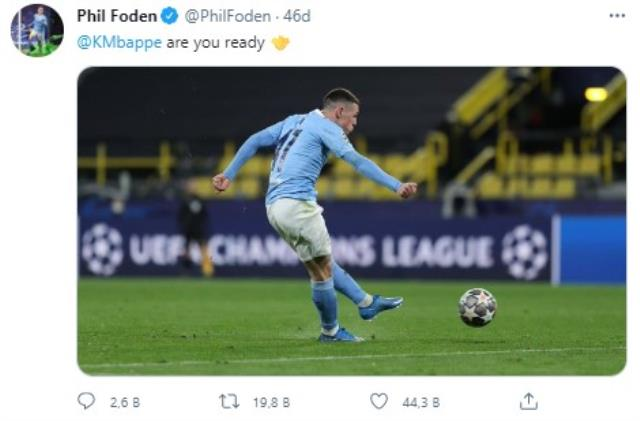 Manchester City'de Phil Foden, Kylian Mbappe'ye sosyal medyadan meydan okudu