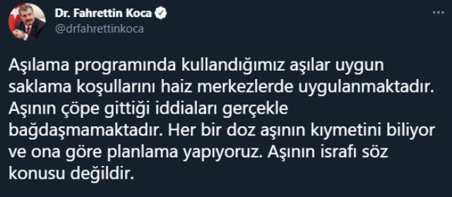 Sağlık Bakanı Koca'dan 'Aşılar çöpe gidiyor' iddiasına yanıt: İsraf söz konusu değildir