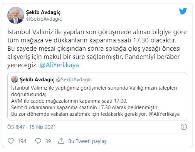 İstanbul'da AVM'ler ve mağazaların kapanış saati yarım saat uzatıldı
