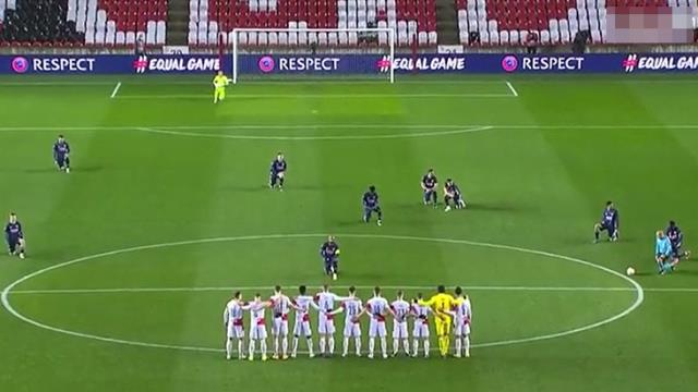 Slavia Prag players did not kneel against racism before the match