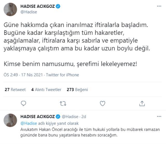 Ebru Gündeş'in eşi Reza Zarrab'la yasak aşk yaşadığı söylenen Hadise'den ilk açıklama: Hesabını soracağım