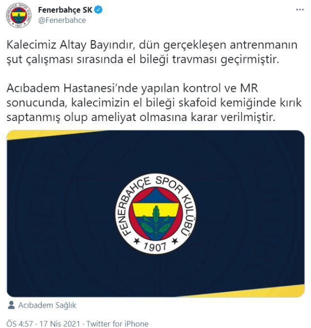 Son Dakika: Fenerbahçe'ye Altay şoku! Başarılı kaleci ameliyata alınıyor