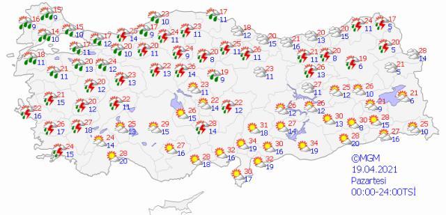 Pazartesi günü İstanbul dahil 43 ilde sağanak yağış bekleniyor