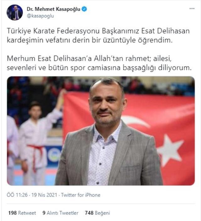Türkiye Karate Federasyonu Başkanı Esat Delihasan'ın vefat haberi spor camiasını yasa soktu