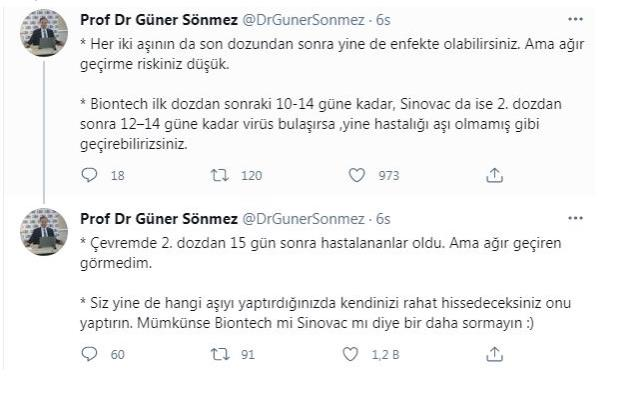 Biontech or Sinovac?  Prof.  Dr.  Güner Sönmez listed the characteristics of the vaccine by substance two