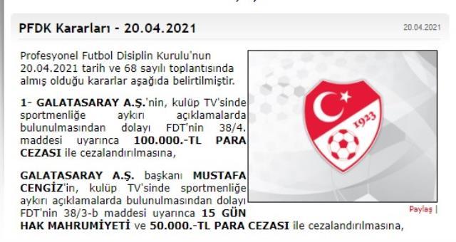 Mustafa Cengiz'e sportmenliğe aykırı açıklamaları sebebiyle hak mahrumiyeti ve para cezası verildi