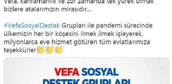 Süleyman Soylu: Vefa Sosyal Destek Grupları 21 milyon 210 bin 899 kişinin yardımına koştu