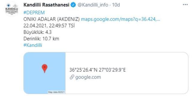 Datça açıklarında 4.2 büyüklüğünde deprem