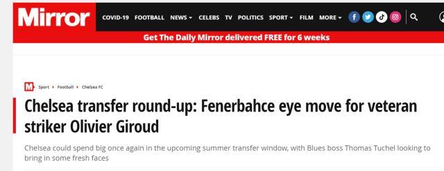İngiltere'nin en önemli gazetelerinden Mirror, Giroud'nun Fenerbahçe ile anlaştığını iddia etti