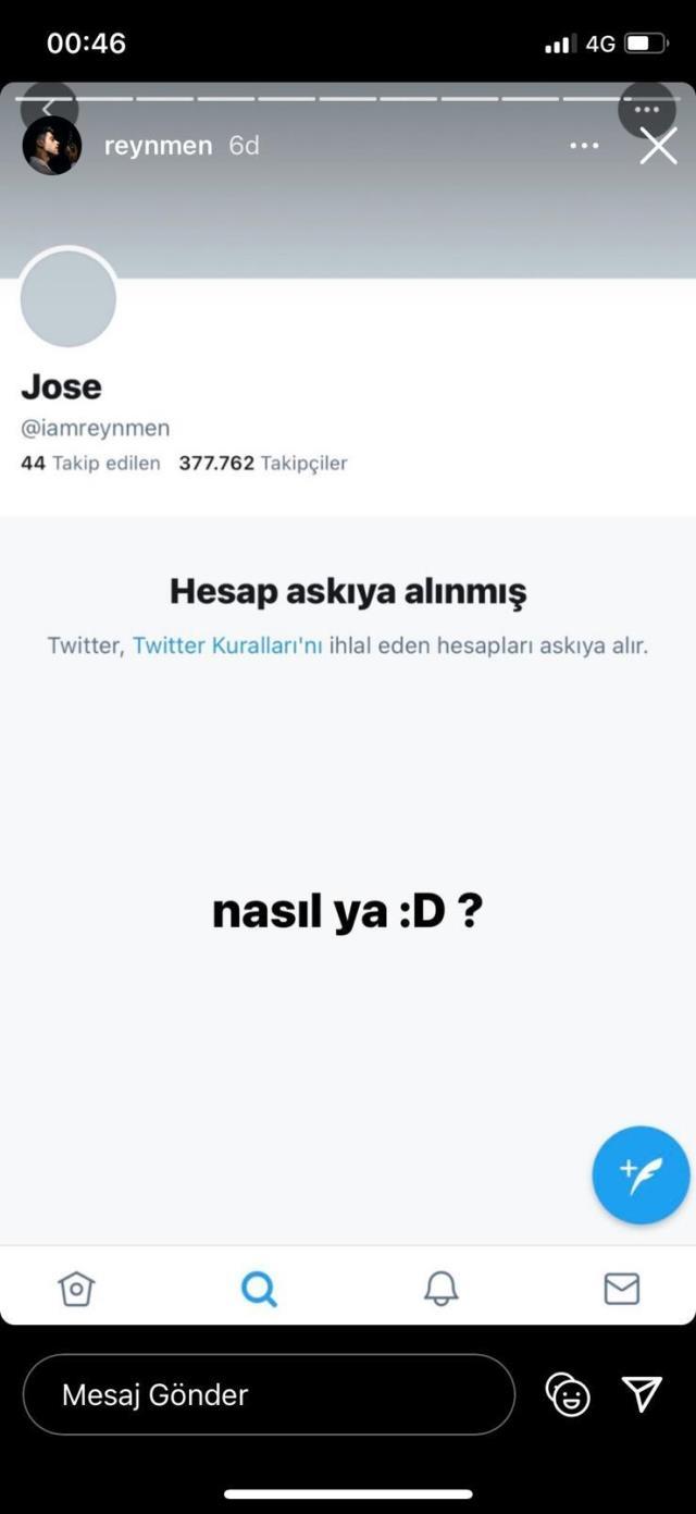 Sosyal medya fenomeni Reynmen'in Twitter hesabı askıya alındı